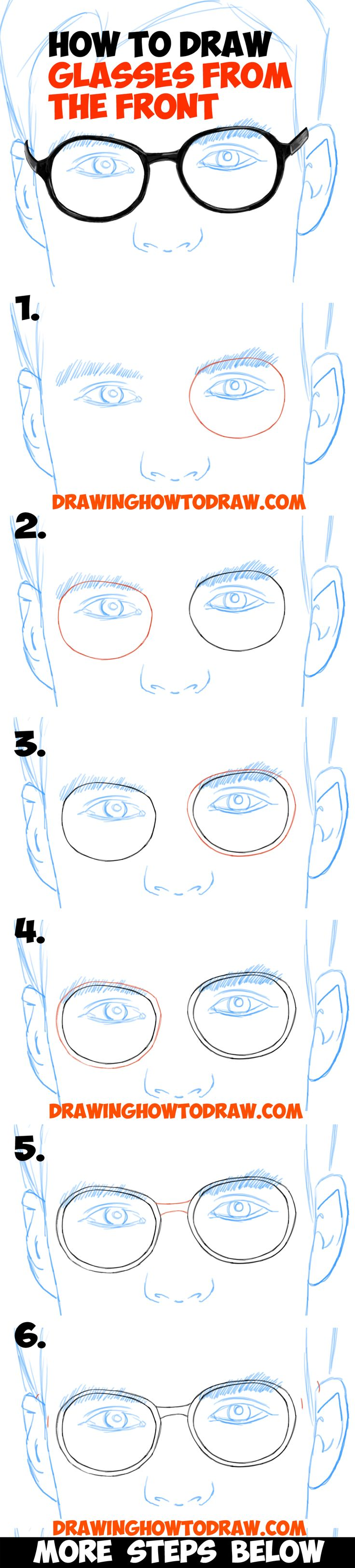 How to draw a simple emo face step 1 - How To Draw Glasses On A Face From The Front View In Easy Step By Step