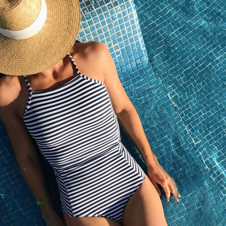 albion fit striped swimsuit