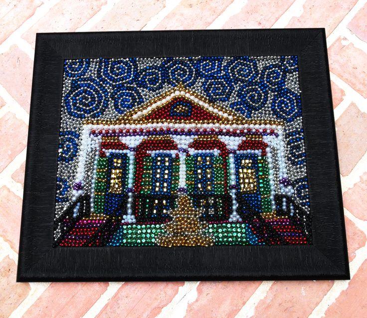 Now this is some fabulous Mardi Gras art! Mardi Gras Bead Mosaic. i want to make something like this sooo badly!