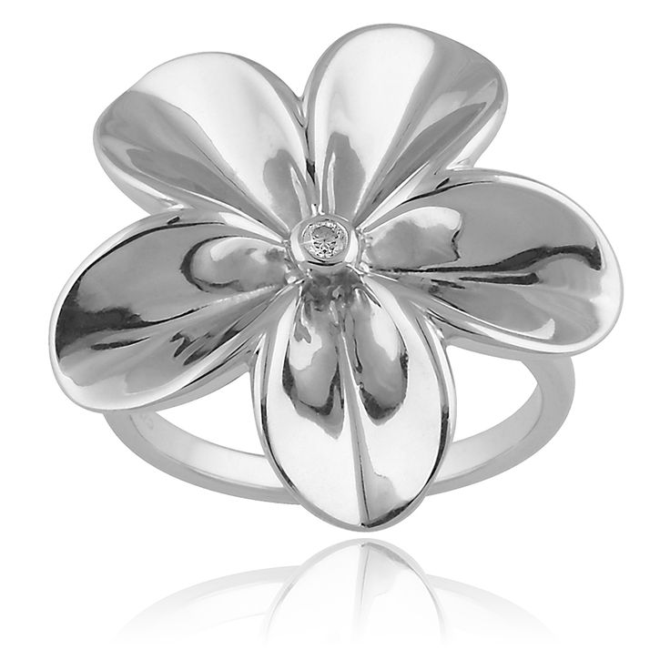 Lore Ring. Glossy 925 sterling silver with white rhodium plating. 1 brilliant cut diamond - 0.03 carat (full cut).
