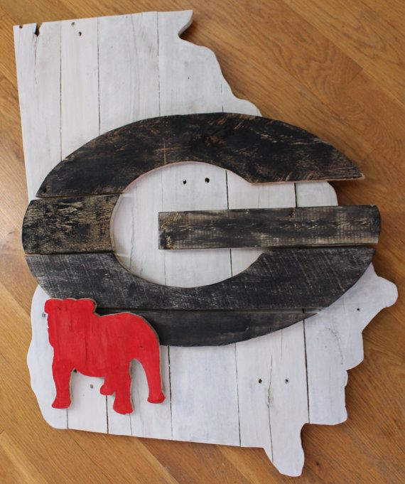Whitewash State of Georgia Pallet Wood Sign with G by MillpondMoss