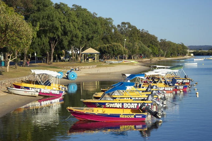 Boats for hire on Maroochy River, Maroochydore.