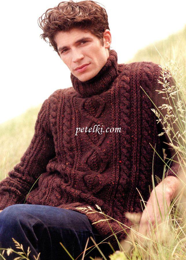 Мужской свитер с ирландским узором