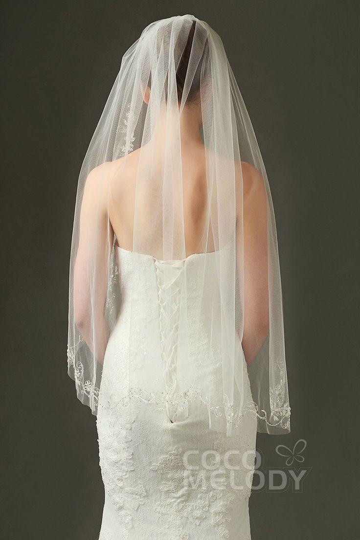 Elegant One-tier Beaded Edge Tulle Ivory 90*168cm Hip Veils with Appliques and Beading AV160032#weddingessentials #weddingaccessories #cocomelody