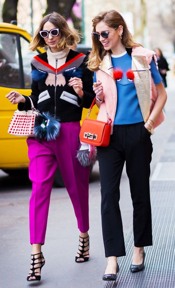 Quirky street style looks: bold colors, fur accents, and lots of prints