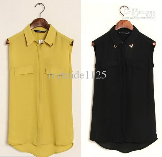 Online Cheap New Arrivals Euro Style Candy Colors Turn Down Collar With Rivet Sleeveless Chiffon Blouse Fake Pocket Women Blouse By Ivytrade1125 | Dhgate.Com