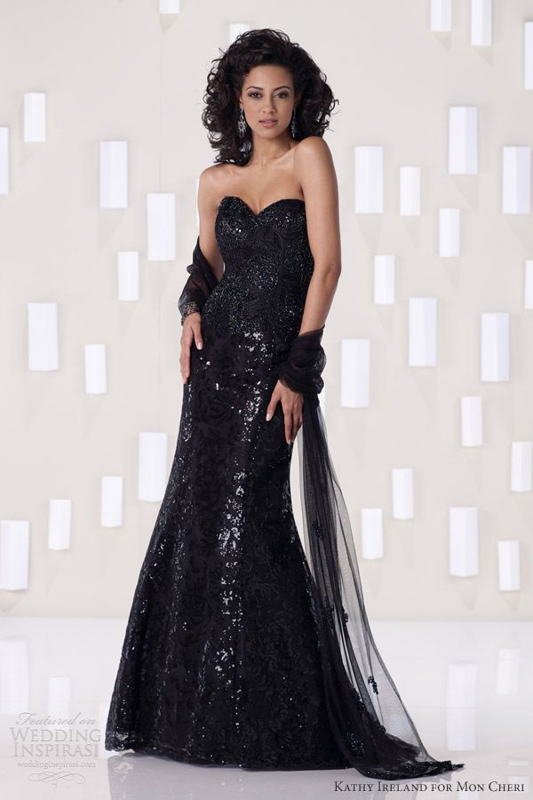kathy ireland for mon cheri fall 2012 special occasion collection black evening gown