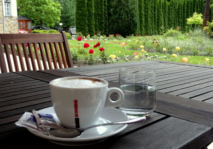 Having coffee at the outdoor terrace of the Palace Hotel in Lillafured.