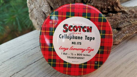 Check out this item in my Etsy shop https://www.etsy.com/listing/236289638/mid-century-scotch-cellophane-tape-tin