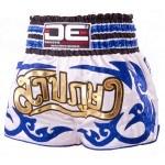 DE White with Blue Glitter Tribal Muay Thai Shorts [DEMTS-025]