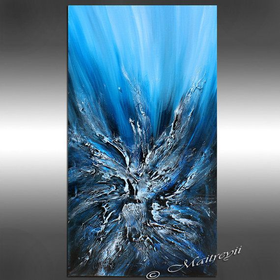 Teal abstract painting turquoise abstract art ocean for Aqua blue paint for walls