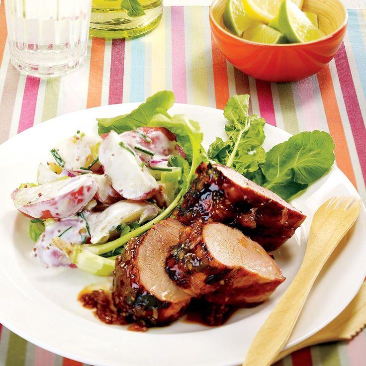 Filets de porc grillés, glace au beurre de pommes   .coupdepouce.com