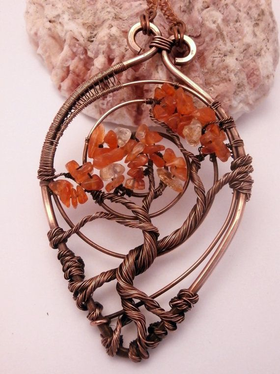 Wire Wrapped Tree of Life Pendant Necklace, Carnelian, Bonsai, Handmade, Antiqued Copper, Wire Tree Jewelry