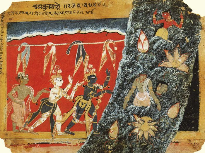 Krishna Kills the Evil King Kamsa's Washerman 1560 (via History of Art:The Art of Asia - INDIAN COURT PAINTING