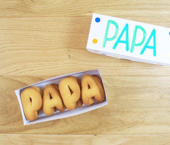 Pour la fête des pères qui a lieu le 19 juin, cuisinez en famille de jolis biscuits et offrez-lui dans une boîte décorée par vos artistes.
