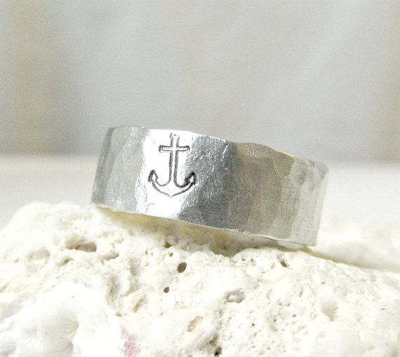 Anchor Ring Silver Hammered Band Ring by EagleRowe on Etsy, $19.50