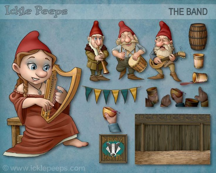 A set of 4 Gnomes, 7 props and 1 additional scenery in PNG format