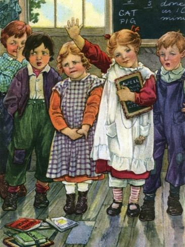 Illustration of children in schoolroom by Clara M. Burd: