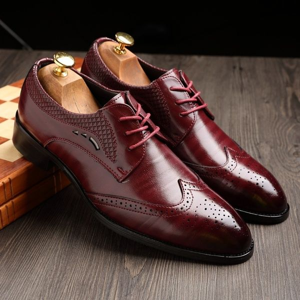 classic Men/'s Brogue Carving Oxfords Lace Up Leather casual Wedding Dress shoes