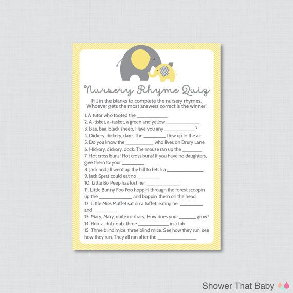 elephant baby shower nursery rhyme quiz game in yellow and gray printable instant download yellow and gray elephant baby 0024y
