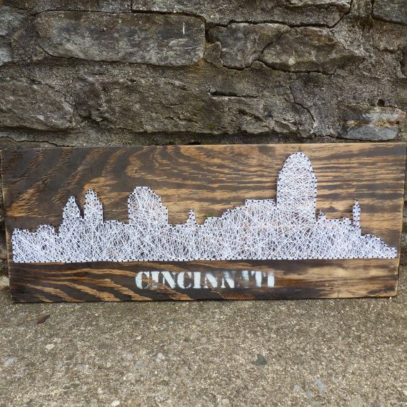 Cincinnati Skyline String Art Cincinnati String by ABUnderwoodCo2