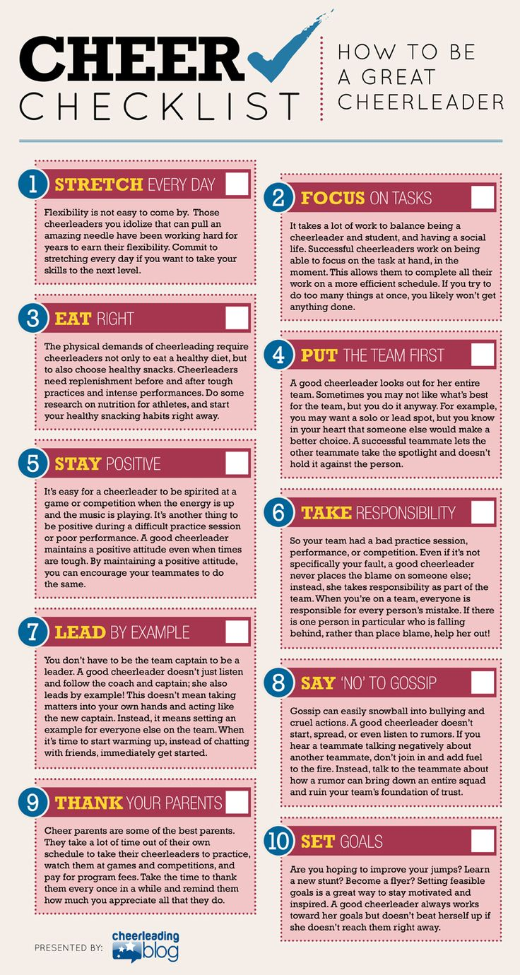Cheer Checklist: How to be a GREAT Cheerleader (INFOGRAPH) Posted on May 1, 2014 by Melissa wrote in Fun Features, Spirit Building. It has 0 Comment.