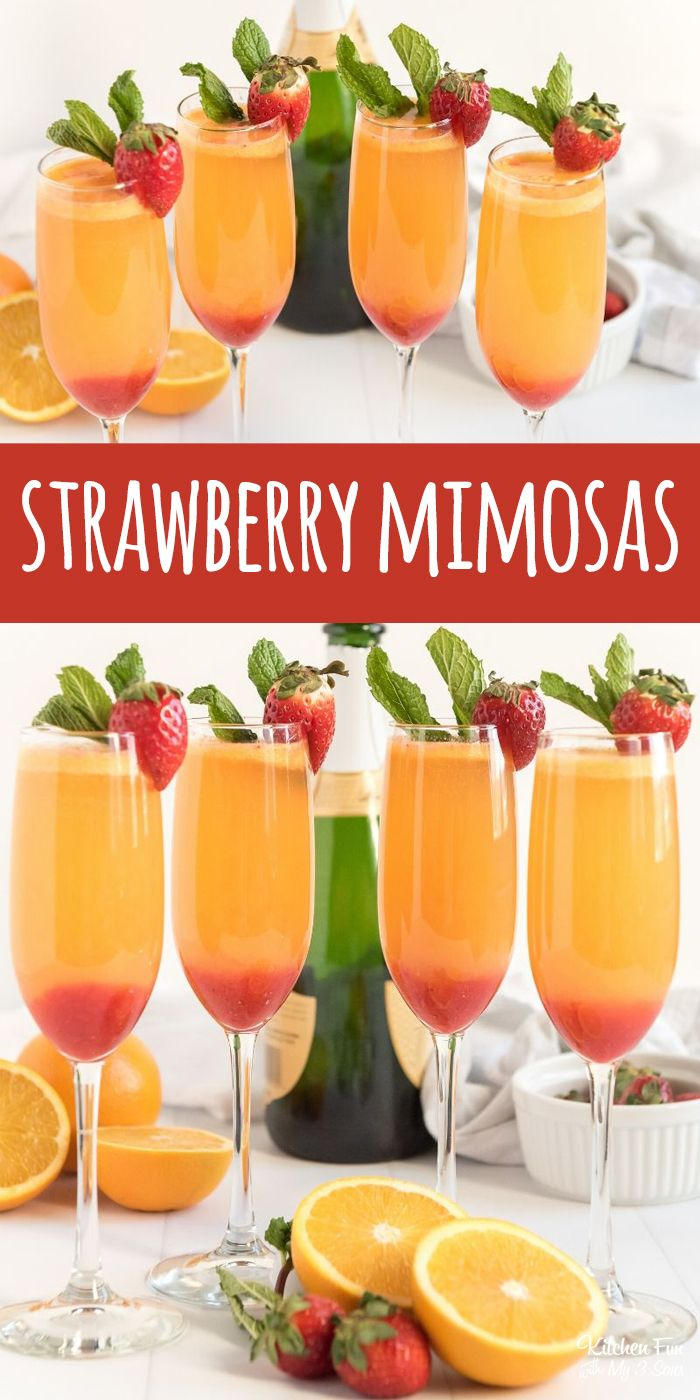 Strawberry Mimosas With Real Pureed Strawberries Perfect For Brunch Mimosa Bar Drinks Cocktail C In 2020 Strawberry Mimosa Mimosa Recipe Delicious Drink Recipes
