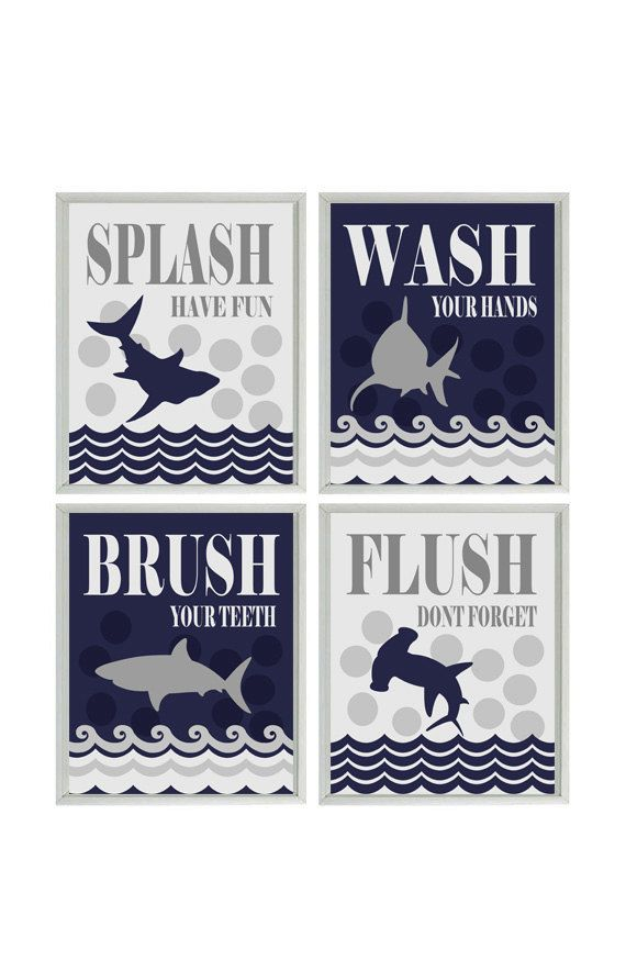 Shark Bathroom Wall Art, Kids Bathroom, Wash, Flush, Brush, Splash, Navy Blue and Gray Decor, Shark Bathroom Theme, Shark Art, Boy Bathroom