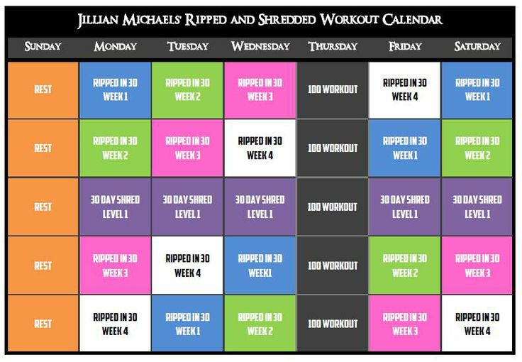 """I made this workout calendar because I hate doing the same workout every day for a week.  This calendar combines the workouts from Jillian Michaels' """"Ripped in 30"""" and """"30 Day Shred"""" DVDs as well as the """"100 Workout"""" (which you can google or find on Pinterest)...That being said, you will need those DVDs.  This workout calendar gives you a different workout every day, which allows for some variety; rather than doing the same Level/Week for 5-7 days which is boring."""