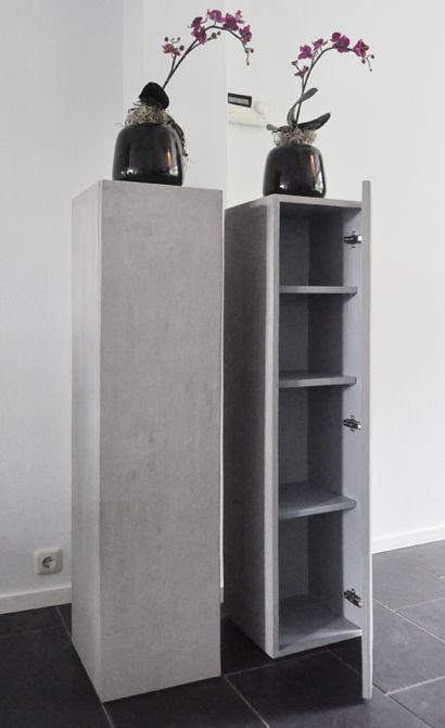 Zuilen van mdf | zuilkast met deur en planken | alle kleuren leverbaar | wit, zwart | maatwerk zuil, sokkel, pilaar, kubus en blok