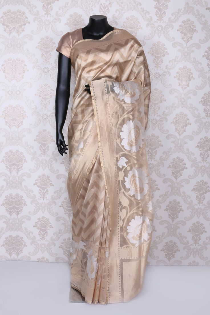 Dignified #gold banarasi #silk #saree with dull gold border-SR11760