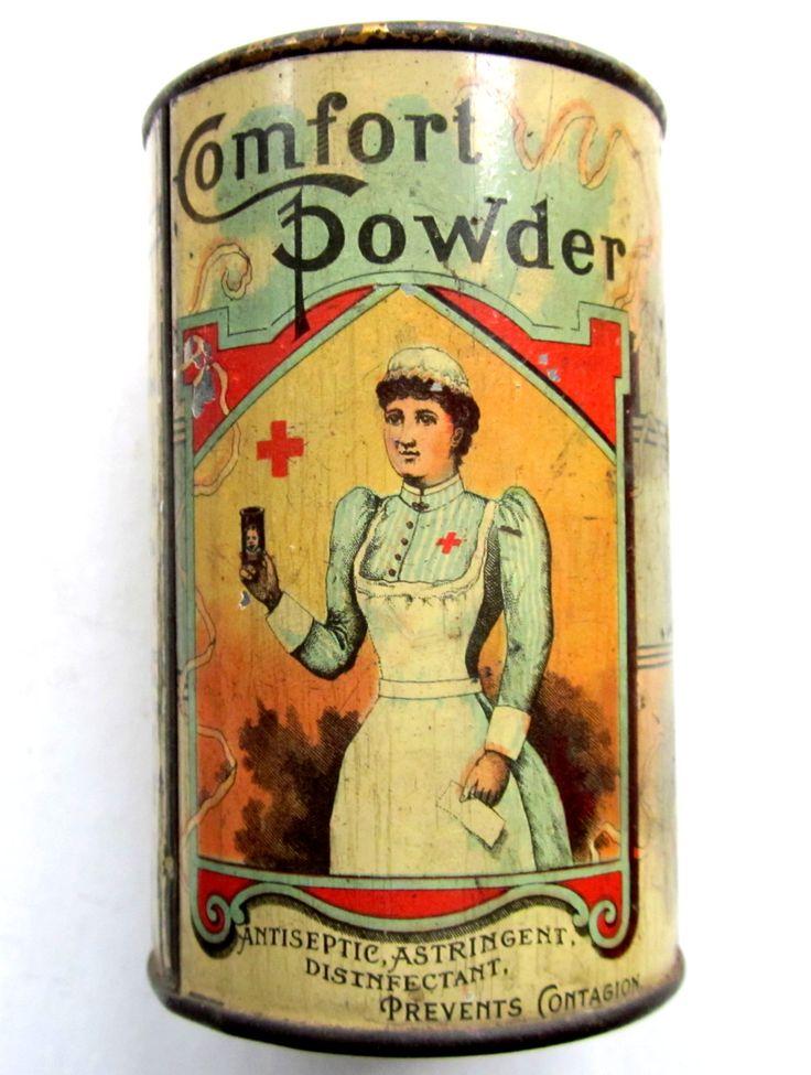 Antique COMFORT POWDER Tin Container 1891 Hartford, Ct.