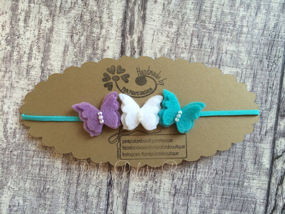 Lavender White and Teal Wool Felt Butterfly Trio Headband