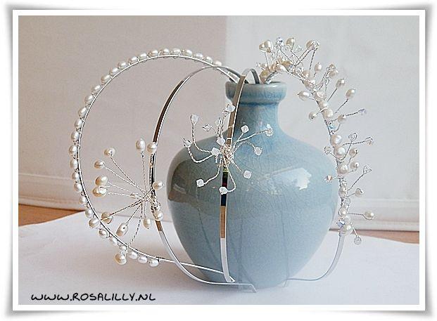 Studio Rosa & Lilly Bruidssieraden:  #diademen handgemaakte #bruidsdiadeem met #zoetwaterpareltjes en #swarovski