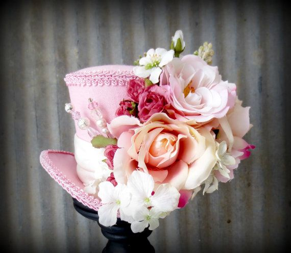 Pink Linen Rose Flower Explosion Mini Top Hat, Mad hatter Hat, Alice in Wonderland, Tea Party Hat,Mad Hatter Hat,Steampunk, Kentucky Derby on Etsy, £31.47