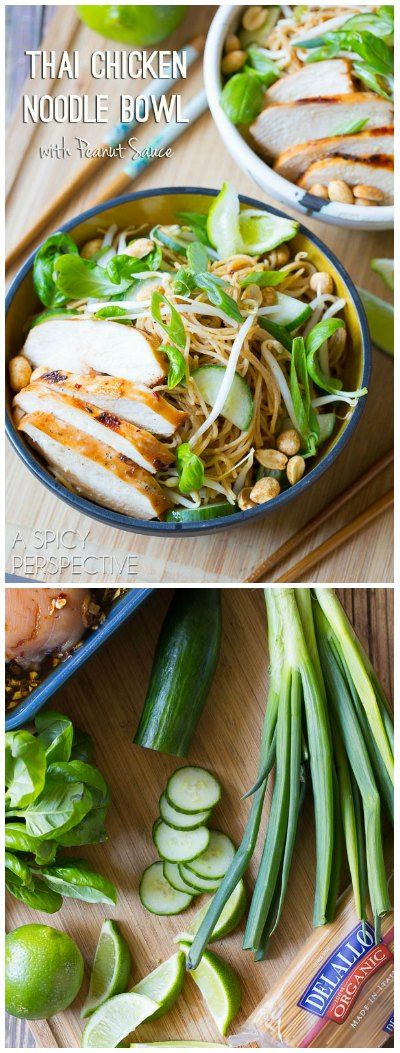 Awesome Thai Chicken Noodle Bowl with Peanut Sauce! via @spicyperspectiv