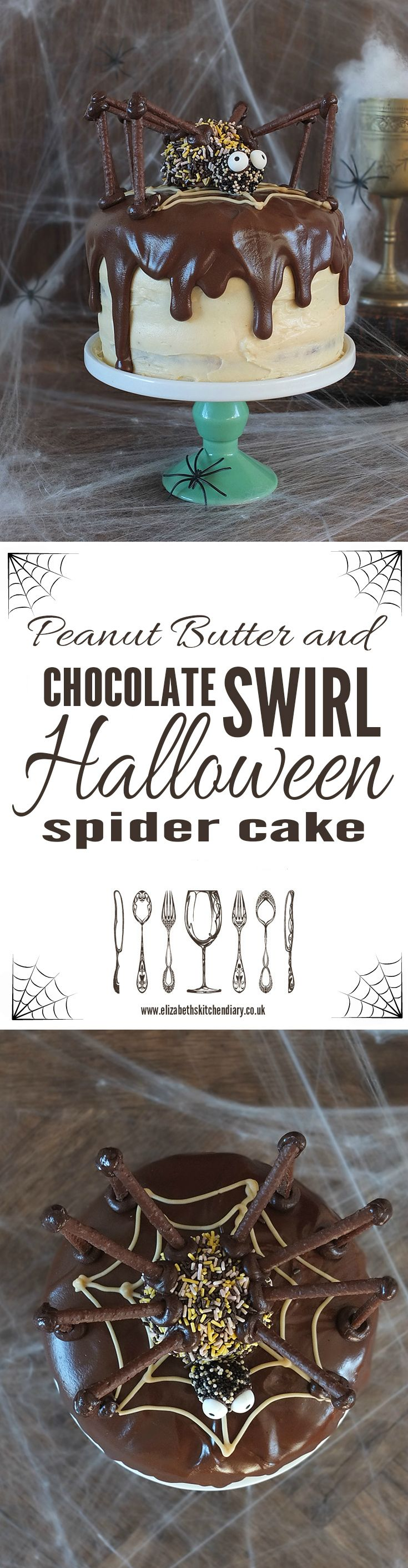 Three layers of chocolate and peanut butter swirl cake sandwiched together with peanut buttercream and topped with chocolate ganache and a giant candy spider. What's not to love?!