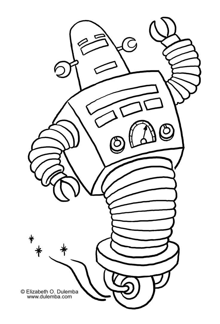 Coloriage robot roulette et dessin colorier robot - Robot coloriage ...