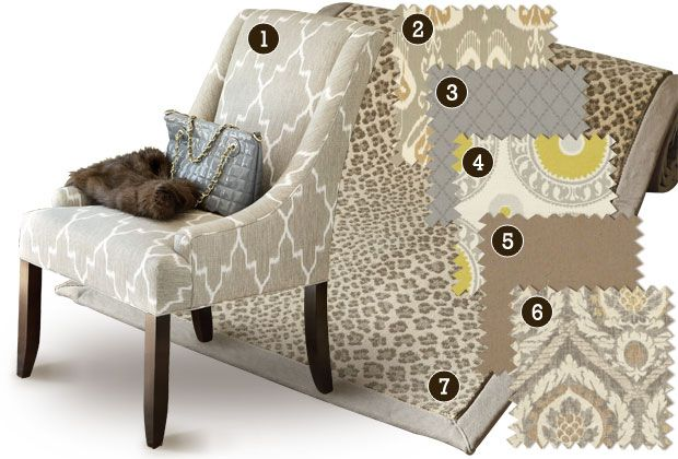 Contemporary:    Keep a monochromatic color scheme interesting with great patterns that play well together and fabrics with tonal texture, like our Scandicci Gray.    1.) Indochine Ikat Stone   2.) Toscana Ikat Slate   3.) Lorenzo Charcoal  4.) Asha Pewter  5.) Danish Linen Tea  6.) Scandicci Gray  7.) Panthea Rug (Gray)