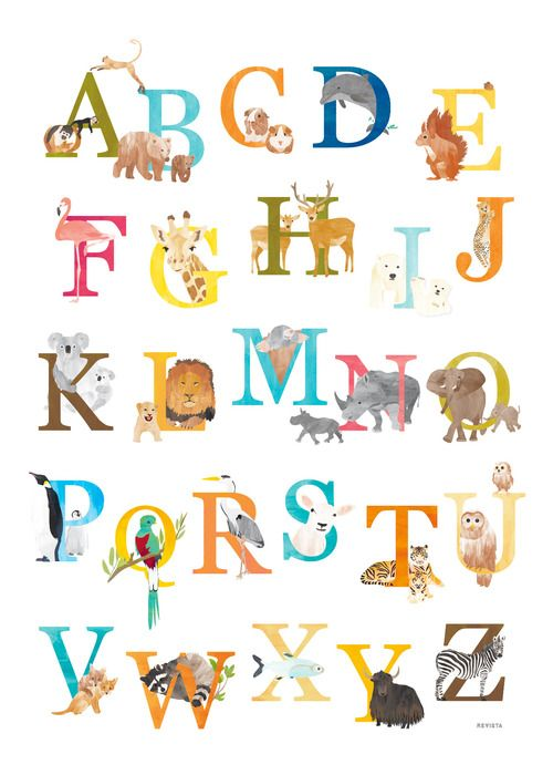 Vrolijke alfabetposter met dieren voor baby- of kinderkamer. www.revista-ontwerp.nl