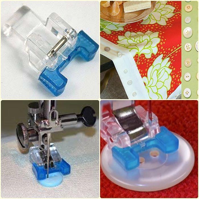El pie de Botón, es muy práctico y muy fácil de usar porque es abierto, por lo tanto se ven muy fácil los hoyitos del botón y además tiene gomitas que se adhieren al botón evitando que este se resbale, o se deslice si el botón es redondo o tiene relieves o simplemente el botón es pequeño. Este pie se usa en todos los modelos de las máquinas de coser Janome.