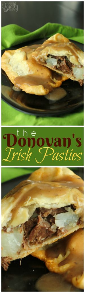The Donovan's Irish Pasties are roast and potato filled flaky pastry that is drizzled with or dipped in a savory roast beef gravy.  A true Irish recipe that is tradition on St. Patrick's Day. via @favfamilyrecipz