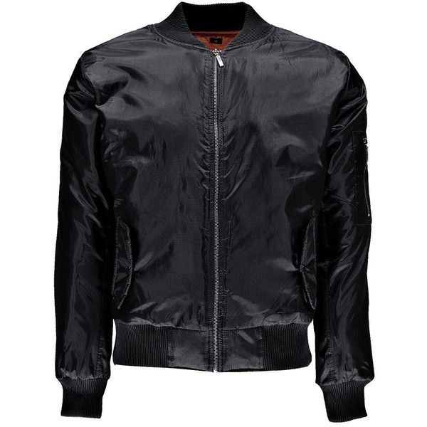 Boohoo MA1 Bomber Jacket (99 BRL) ❤ liked on Polyvore featuring men's fashion, men's clothing, men's outerwear, men's jackets, mens parka jacket, mens lightweight quilted jacket, mens padded jacket, mens leather sleeve jacket and mens light weight jackets