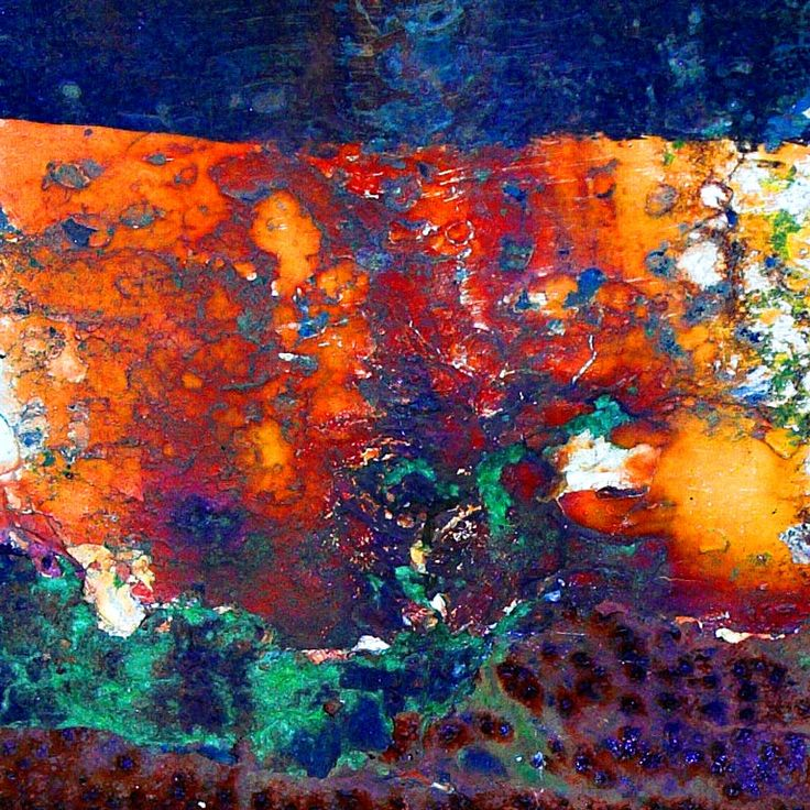 Colorful blue green orange rust