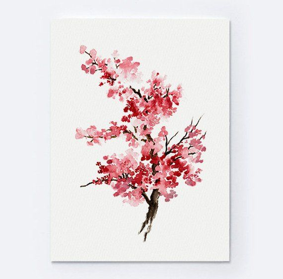 Cherry Blossom Flower Watercolor Painting Pink Gifts For Her Etsy Abstract Flower Art Cherry Blossom Watercolor Cherry Blossom Painting