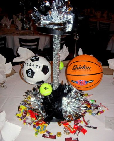 79 best images about sports banquet on pinterest for Athletic banquet decoration ideas