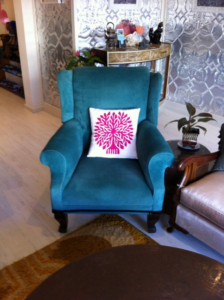Loving this vintage turquoise chair at Hatters Tea House, Ettalong