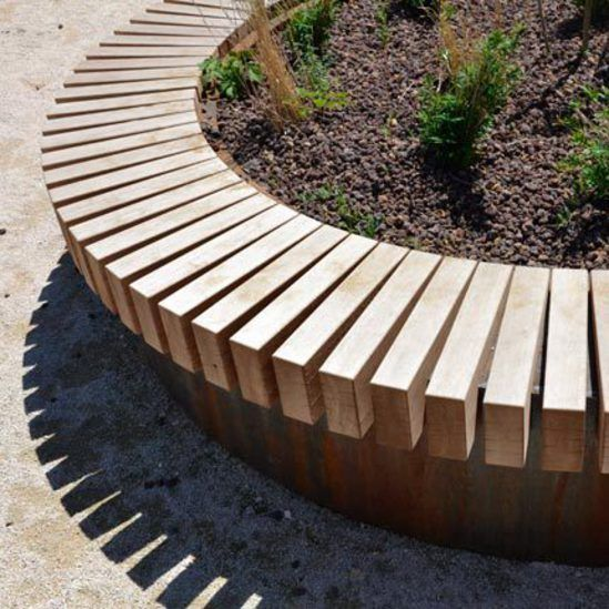 R&R Beams on CorTen Base for Tree Isle