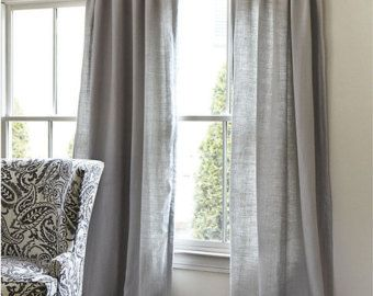 Summer Sale last chance-Solid Grey Storm Cotton Curtains, Window Treatments…