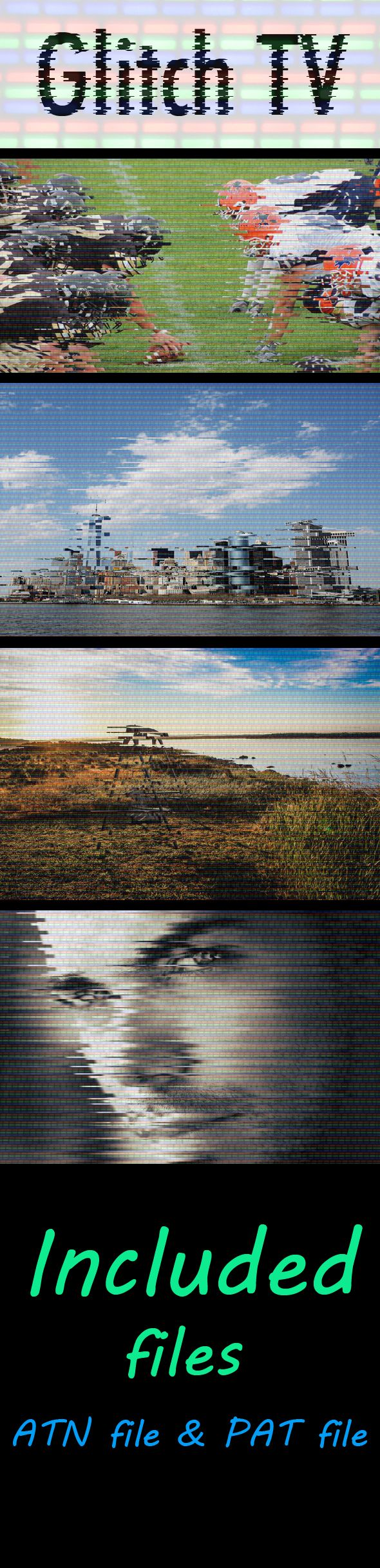 Glitch & TV Effect Photoshop Action - Photo Effects Actions
